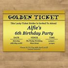 Personalised Golden Ticket Childrens Kids Birthday Party Invites Invitations