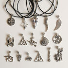 Antique / Tibetan Silver Charms and Real Black Leather Cord Necklace