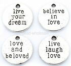 20Pcs Hot sale Antique Silver Tone Love Believe Dream Live Laugh Charms Pendants