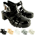 Womens Mid Heel Jelly Woven Buckle Strap Summer Holiday Festival Sandals UK 3-8