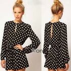 HOT Fashion Long Sleeve Polka Dots Cotton Rompers Casual Short Pant Jumpsuit Pop