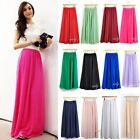 Womens Chiffon Pleated Retro Vintage Maxi Long Skirt Dress 13 Colors K222TD