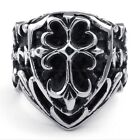 Jewelry 316L Stainless Steel Titanium Chrome Cross Heart Casted Ring M072603