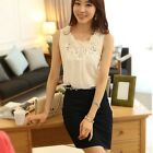 Lady Sexy Fashion White Tops Loose Sleeveless Vest Chiffon Shirt Causal Blouse