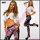 Womens Trousers with Flowers Sexy Ladies Slim Floral Pants Size UK 6,8,10,12,14