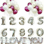 """16""""/35cm Silver Foil Helium Letters Number Balloons Wedding Birthday Party Decor"""