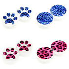 Value Pack 4 PAIRS Blue Pink Leopard Paw Acrylic Flesh Tunnels White Ear Plugs