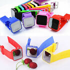 12 Color Men Women Mirror LED Date Day Silicone Sport Rubber Digital WristWatch