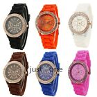 Women Lady Fashion Golden Bling Soft Silicone Strap Crystal Wrist Watch 6 Color