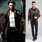 X-MEN Origins Wolverine Brown Biker Leather Jacket Halloween Costume Size M-3XL