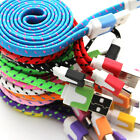 Braided Fabric 1 Metre 3 ft Flat microUSB Charger Cable For Samsung Nokia LG