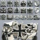 Punk Stainless Steel Skull Iron Cross Lion Bird Animal Love Hope Men Finger Ring