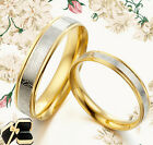 Groom&Bride 18K Gold Matching Wedding Titanium Rings 080A3