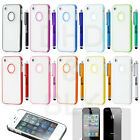Pen+Hybrid Rugged Rubber Hard Matte Case Cover For iPhone 4G 4S w/ Screen Guard