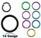 "1pc. 14GA~5/16"" to 1/2"" Titanium Anodized 316L Segment Ring Earings, Septum, Lip"