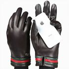 2015 Men lambskin Touchscreen Leather gloves w/cashmere lined