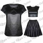 Womens Short Cap Sleeve Glossy Wetlook Ladies Celebrity Rihanna Style Top Tshirt