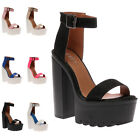 New Ladies Ankle Strappy Womens Cleated Platform High Heel Sandal Shoes Size 3-8
