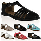 New Ladies Cut Out Design Womens T-Bar Girls Light Summer Sandals Shoes Size 3-8