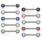 Double Front Facing Gem Nipple Bar Body Piercing Jewellery CHOOSE SINGLE OR PAIR