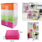 Clear Shoes Storage Boxes Stackable Plastic Foldable Case Housekeeping Organizer