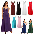 Long Classic Sequin Diamante Pleated Chiffon Formal Evening Dress UK sizes 8-20