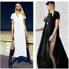 Sexy High Side Splits Maxi Long Dress Casual Tee T-shirt Dress Party Clubwear