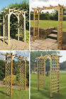 Square Flat Top Wooden Garden Arch Trellis Sides Timber Wood Treated Against Rot