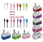 USB Mains Plug Charger + 2M/3M sync lead Cable for iPhone 5 5C 5S iPad Mini ipod