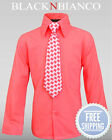 Boys Button Down Dress Shirt with Matching Tie Set Size 2-14