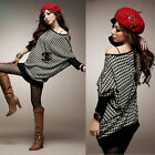 Sexy Womens Batwing Sleeve Knitted Shirt Houndstooth Mini Dress T-shirt Tops Tee