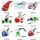 g814q61 Women's Pretty Bead Lampwork Glass Murano Pendant Necklace Earrings set
