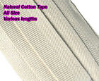 COTTON WEBBING NATURAL BEIGE BUNTING HERRINGBONE APRON SEWING TAPE 50 MTR ROLL