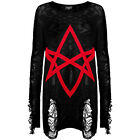 Hexagram Occult Black Shredded Knit Oversized Jumper Sweater Gothic Goth Witch