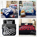 New 100%Polyester Queen Size Bed Quilt/Duvet Cover Set Black Blue Background