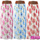 WOMENS NEW FLORAL CHIFFON MAXI SKIRTS LADIES ELASTICATED WAIST BELT FLARE SKIRT