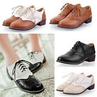 Shylock Womens Lace Hollow Block Mid Heel Brogues College Oxford Heels Shoes SZ