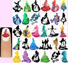 60x DISNEY SILHOUETTES Nail Art Decals + Free Gems Princesses Princess Frozen