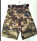 Boys Camo Cargo Brown Shorts with Belt 60% Cotton, 40% Polyester, All Seasons