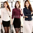 Ladies Womens Long Sleeve OL Business Casual Button Shirt Blouse Tops BF00