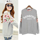 Vintage Womens Lace Batwing Floral Print Crewneck Blouse Shirt Tops Long Sleeves