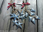 Shabby Christmas Tree Decoration Hanging Metal Star Heart East of India Ribbon