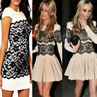 Womens Mini Sleeve Dress Celeb Lace Bodycon Size Party Cocktail Evening Maxi
