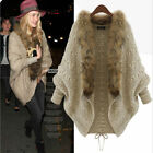 NEW Winter Warm Coats Womens Fur Collar Bat Sleeve Cardigan Sweater Jackets