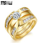 TTstyle Princess Cut THICK 14K Gold GP S.Steel Engagement Wedding Band Ring Set