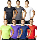 LADIES GYM T-SHIRT RUNNING BREATHABLE FITNESS GYM SPORTS TRAINING EXERCISE TOP