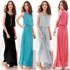 New Womens BOHO Maxi Chiffon Dress Sleeveless Summer Long Beach Sundress SZ 8-16