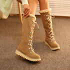 New Women Causal Lace Up Snow Winter Warm Platform Mid Calf Boots Shoes 4-11