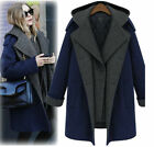 HOT Women's Double-breasted Wool Coat Hooded Jacket Long Sections Thick Outwear