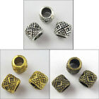 40Pcs Antiqued Silver Gold Bronze 4mm Hole Tube Bead Charm Fit Bracelet 6x7mm